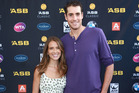 John Isner and wife Madison McKinley at the players party this week. Photo / Norrie Montgomery