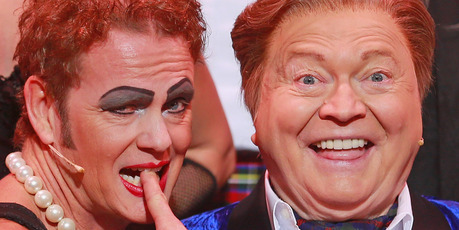 Craig McLachlan as Frank N Furter and Bert Newton as the Narrator pose after performing during a Rocky Horror Show. Photo / Getty
