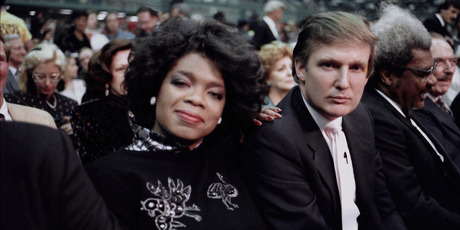 Businessman Donald Trump and Oprah Winfrey ringside at Tyson vs Spinks Convention Hall in Atlantic City, New Jersey June 27 1988. Photo / Getty