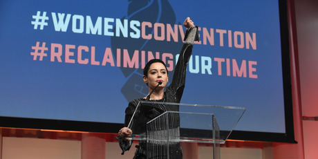 Actress Rose McGowan speaks on stage at The Women's Convention at Cobo Center on October 27, 2017 in Detroit, Michigan. Photo / Getty