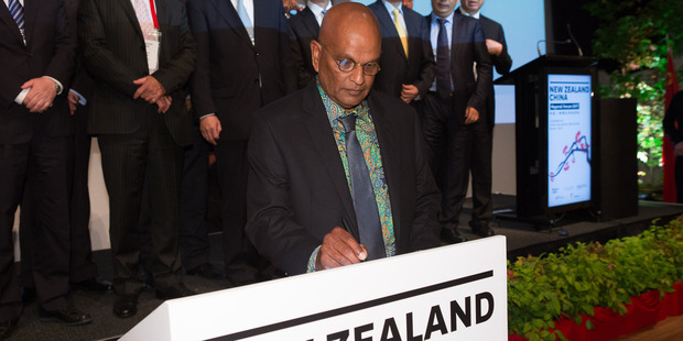 Kapiti mayor K Gurunathan signs the Wellington Declaration, which aims at strengthening ties between local authorities in New Zealand and China.