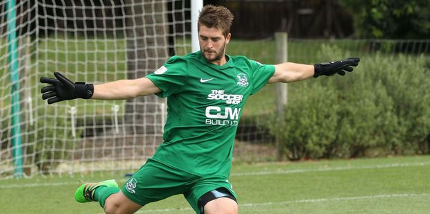 Hamilton Wanderers goalkeeper Matt Oliver played a part in securing another point for his team. Photo / Grant Stantiall