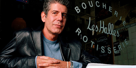 Anthony Bourdain, the owner and chef of Les Halles restaurant, sitting at one of the tables in New York. Photo / AP
