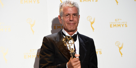 Anthony Bourdain, winner of the award for outstanding informational series or special for Anthony Bourdain Parts Unknown. Photo / AP