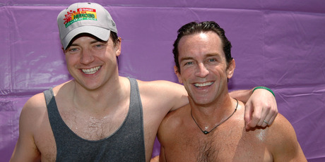 Brendan Fraser and Jeff Probst after dunking one another in the Target Dunk Tank. Photo / Getty