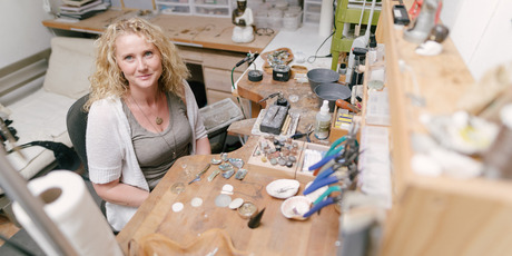 Kiwi jeweller Billy Zeemann in her studio. Photo / Supplied