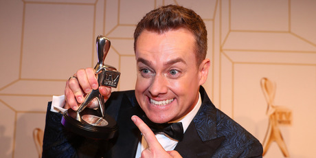 Grant Denyer poses with the award for most popular presenter at the 60th Annual Logie Awards at The Star Gold Coast on July 1, 2018 in Gold Coast, Australia. Photo / Getty