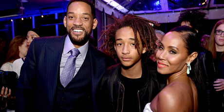 Actors Will Smith, son Jaden Smith and his wife Jada Pinkett Smith pose at an after party. Photo / Getty