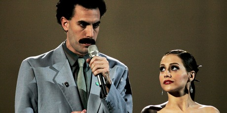 Borat and Brittany Murphy are seen on stage at the 12th annual MTV Europe Music Awards 2005 at the Atlantic Pavilion on November 3, 2005 in Lisbon, Portugal. Photo / Getty
