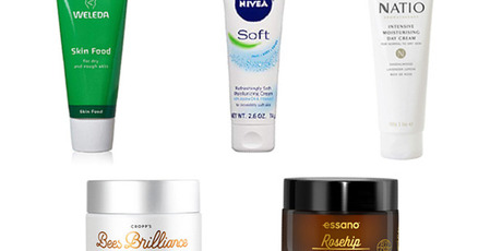 Weleda Skin Food, Nivea Soft, Natio Intensive, Bees Brilliance Skin Brightening, Essano Rosehip. Photos / Supplied
