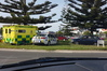Police and ambulance staff at scene of crash on Bayfair roundabout. Photo/Kyle Fetherston