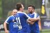 Sam De St Croix (right) celebrates ex-Wanderers teammate Jordan Shaw's goal.Photo/Photosport