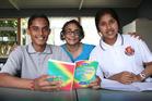 Papatoetoe High School's Hindi teacher Aneeta Bidesi, with students Prateek Kumar, 14, and Anisha Devi. Photo / Doug Sherring