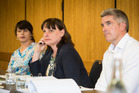 Teachers Disciplinary Tribunal members (from left) Kiri Turketo, chair, Theodora Baker and Simon Williams at today's hearing about a teacher alleged to have tripped a student. Photo / Jason Oxenham