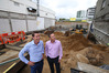 Ben Ruth and Matt Beattie at the development site of 51 The Strand. Photo/John Borren