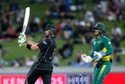 Black Caps batsman Martin Guptill pictured in action during the 4th ODI cricket match between the New Zealand Black Caps and South Africa played at Seddon Park in Hamilton today. Photo / Alan Gibson