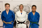 Tauranga Judo Club members Josh Preston and Kent Beech are off to a national camp. They are pictured with team manager Neisha Brooking. Photo/Supplied