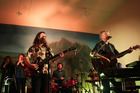 Finn family on stage at Pirongia Memorial Hall: Sharon (backing vocals - left), Elroy (drums), Liam (bass), Neil (guitar).
