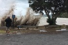 Waves smash the beach at Long Bay near Coromandel Town just before high tide on 5 January. Photo / NZ Herald
