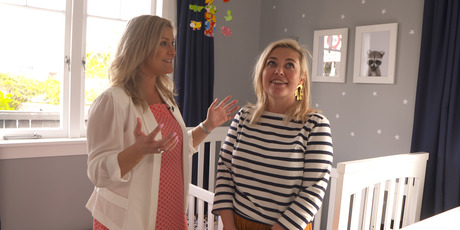 Toni Street shows her The Hits co-host Sarah Gandy around the nursery she's decorated for her baby boy. Photo / NZME
