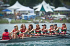 Cox Zoe Stubbing (left), Kristina Light, Bianca Donelley, Maddi Mitchell, Kate Elvy, Alyssa Towler, Lily Reid, Hazel Hulme and Gina van Nieuwenhuizen, of the Rotorua Rowing Club.Photo / Stephen Parker