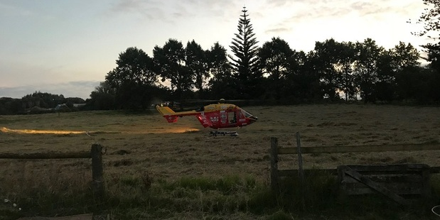 The injured man was taken by chopper to Auckland Hospital. Photo /  Auckland Westpac Rescue Helicopter