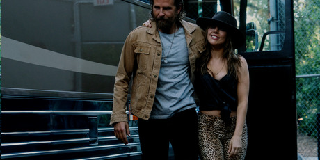 This image released by Warner Bros. Pictures shows Bradley Cooper, left, and Lady Gaga in a scene from A Star is Born. Photo / AP