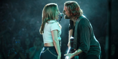 Lady Gaga, left, and Bradley Cooper in a scene from A Star is Born. Photo / AP