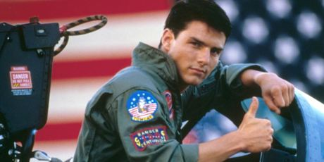 A young Tom Cruise on the set of the original Top Gun movie from 1986. Photo / Getty Images