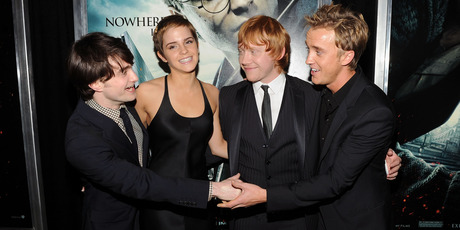 (L-R) Daniel Radcliffe, Emma Watson, Rupert Grint and Tom Felton attend the premiere of Harry Potter and the Deathly Hallows - Part 1 in 2010. Photo / Getty Images
