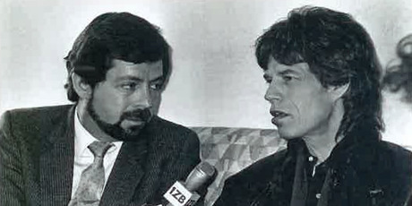 Smith interviews Mick Jagger in 1998. Photo / Supplied