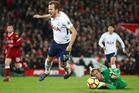 Tottenham's Harry Kane is fouled by Liverpool goalkeeper Loris Karius. Photo / Getty Images.