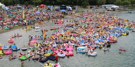 Flamingos and unicorns were the most popular inflatable creatures to take to the lake.