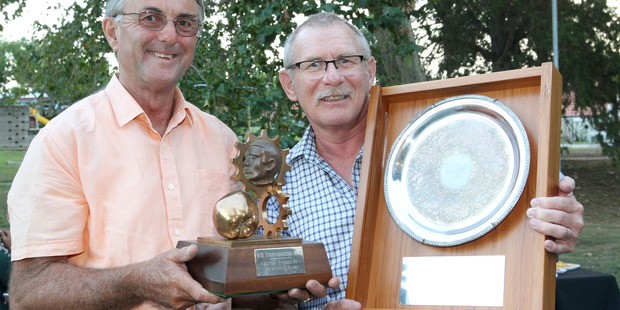 L-R: Ricks Crasborn,with his  Fourneau Award for Innovation and Greg Hodges, Havelock North, with his Joe Bell Award for service to the Industry