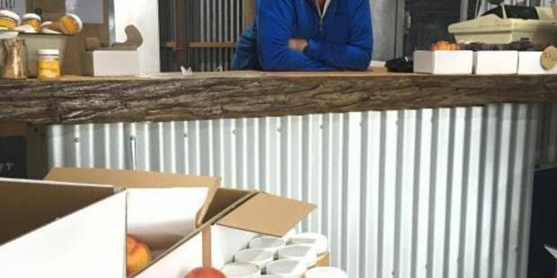 Orchardist Mike Darling in the Moorpark and Mulberry shop near Cromwell. Photos / Sally Rae