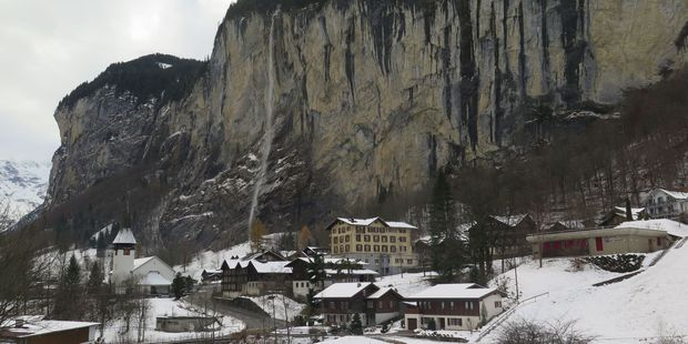 Lauterbrunnen sits in a steep valley studded with 72 waterfalls, the highest of which plunges 300m just behind the village.