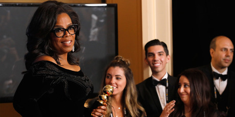 Oprah Winfrey, recipient of the Cecil B. DeMille Award, poses in the press room at the 75th Annual Golden Globe Awards. Photo / Getty