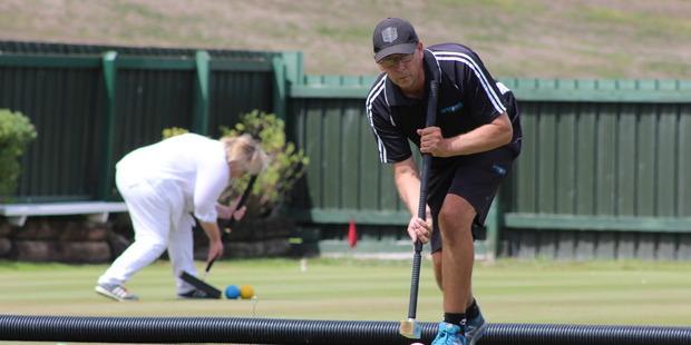Paraparaumu Croquet Club member Brian Bullen at the Waikanae Croquet Club during the Association Croquet World Championship.