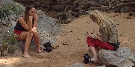 Jackie Gillies gives Simone Holtznagel the psychic reading in the jungle.