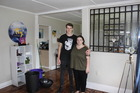 Paraparaumu Beach residents Connor Anson and Sarah Baker in their flood damaged flat.