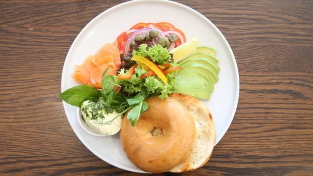 Salmon bagel at Urban Verge. Photo / Doug Sherring
