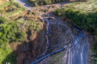 A drone photograph shows the slips on Takaka Hill in the Tasman district.  Photo/ Leroy Bull