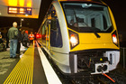 One of Auckland's new electric trains at Britomart in Auckland. A proposed new service from Hamilton will take commuters to catch the electric train in Papakura. Photo / Greg Bowker