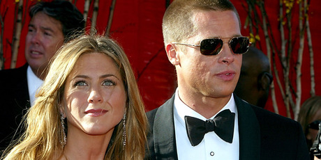 Fans are excited that Jennifer Aniston and her ex-husband Brad Pitt, pictured in 2004, are both single. Photo / Getty