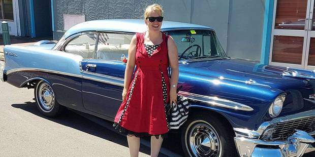 In a retro dress, Stratford Press editor Ilona Hanne was ready to drive back into times gone by.