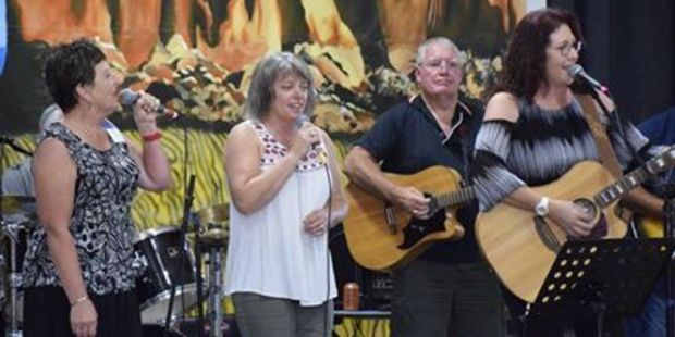 Performers Kay Tappin and Jocelyn Tuahine got up on stage with Australian yodeller Jocelyn Downing during the Taranaki Country Music Festival.