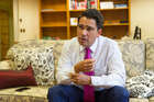 New National Party leader Simon Bridges in his office at Parliament, Wellington. Photo / Mark Mitchell