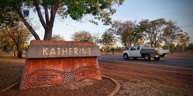 The Katherine town sign.