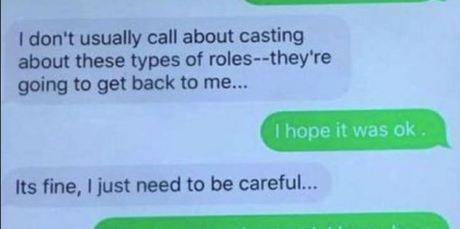 An alleged text message exchange between Charlotte Kirk and Kevin Tsujihara in 2014. Photo / via news.com.au