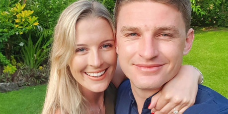 Hannah Laity and Beauden Barrett announced their engagement last year in Fiji. Photo / Instagram